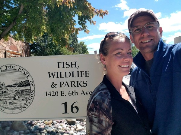 Alicia and Eric at Fish, Wildlife, and Parks working out the donation of 1.1 acres of Blacktail Creek frontage to the State.